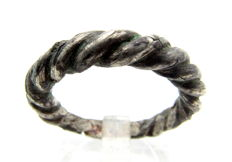 Medieval Viking Period Silver Twisted Ring  - 18mm
