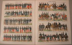 4 sets Instruction posters about the French, German, Belgian and Austrian armies -Paris 1900