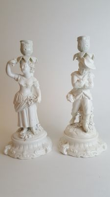 Pair of Dresden porcelain candle sticks
