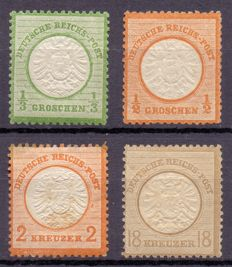 German Empire 1872 - Composition of 4 stamps from the classic set 'adler mit kleinem brustschild'