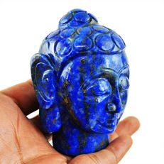 Top Rare Blue Lapis Lazuli Buddha Head - 80x55x45 mm - 1819.50 cts