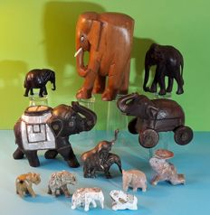 Collection of 12 elephants