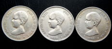 Spain - Alfonso XIII - 5 pesetas, year 1888 *18-88 + 1889 *18-89 + 1890 *-90 - 3 coins - Silver.