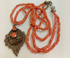 Necklace with old natural salmon coral necklace and Afghan style pendant