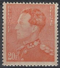 Belgium 1946 - King Leopold III type Poortman - 20F Bright orange - OBP 435A