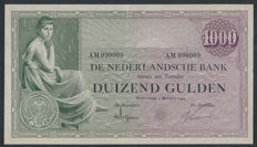 Netherlands - 1,000 Guiders 1926 - Grietje Seel / Seated woman - mevius 152-1 - fun number 090009