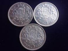 Latvia - 5 Lati 1929, 1931 and 1932 (3 pieces) - silver