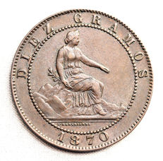 Spain - Provisional Government - 10 copper céntimos - 1870 - Barcelona.