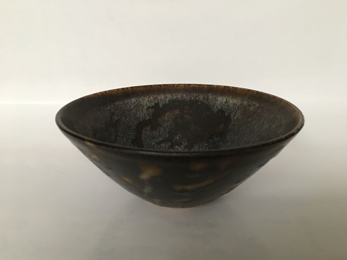 Ancient Paper Cut Dragon And Phoenix Oil Drop Glaze Bowl-Height approx : 6.3 cm  Mouth diameter approx : 14.5 ~ 14.6 cm Bottom diameter approx : 3.7 cm Weight approx: 272.2 g
