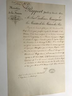 Two documents from the Ministère de la Maison du Roi Louis XVIII - 1820