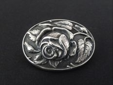 Stunning silver brooch with rose - 800/1000