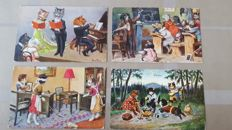 Humorous cats postcards by famous illustrators and publishers such as Arthur Thiele-Alfred Mainzer-Max Kunzli – Paulsen etc. 49 x