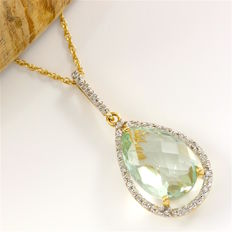 14kt Yellow Gold 12.50 ct Green Amethyst, 0.15 ct Diamond Pendant Necklace - 48 cm - no reserve -