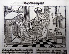 "Master of Delft - Incunabula leaf with large woodcut from Vitae Christie: Christ takes May's Hand: ""Gje ghebenedide gods sone aldus vader doot verresen synde en die drye marien..."" - 1488"