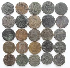 Southern Netherlands - 25 liard/oord coins, including Liège and Namur, among others, 1641 to 1752 - copper