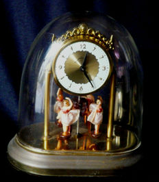 Vintage mechanical Johmid Germany clock with 4 rotating female dancers, 2nd half of the 20th century