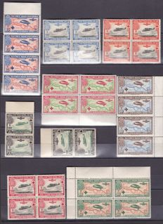 Spain 1855/1946 - Lot of stamps and Blocks of 4 from the 1st centenary