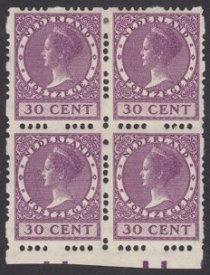 The Netherlands 1928 - Wilhelmina type 'Veth', with deviant syncopated perforation in block of 4 - NVPH R53c