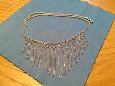 Choker in 18 kt white gold, with pendants, semi-rigid, 41 cm long