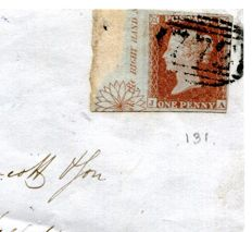 Great Britain 1852 - Central ornament marginal 1d red imperforate on cover