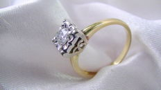 Art deco ring 0.27 ct solitaire 585 gold