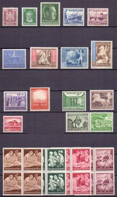 German Empire 1924/1942 - Composition of MNH pre-war stamps and series, including good value of the brown band