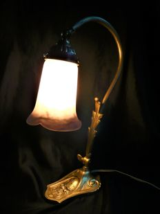 Jean Noverdy - Art Deco Lamp - glass paste and bronze
