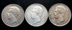 Spain - Amadeo I - 5 pesetas year 1871 *18-71 + 1871 *18-74 + 1871 *18-75 - 3 coins - Silver