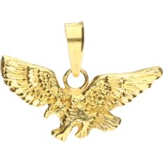 18 kt. Yellow gold pendant in the shape of an eagle - length x width: 2.2 x 3.1 cm