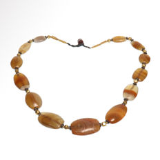 Near Eastern Banded Agate and Gold Necklace, Total length= 66 cm L