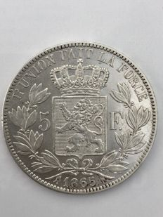 Belgium - 5 francs 1865 with point Leopold I 'Blootshoofd' - silver