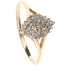 14 k Geelgouden ring bezet met 31 single cut geslepen diamanten van ca. 0.005 ct - Ringmaat: 20.5 mm