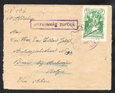 The Netherlands 1916 - Internment Camp stamp, NVPH IN 1 on letter