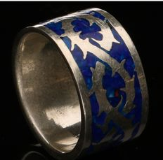 925 Silver ring, enamelled - ring size: 16.5 mm