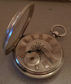 John Forrest, London - powerful Lepine pocket watch - fine silver dial with gold numerals - England 1870
