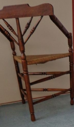 Merveilleux Special Oak Triangle Chair With Wicker Triangle Seat, Netherlands, Early  20th Century
