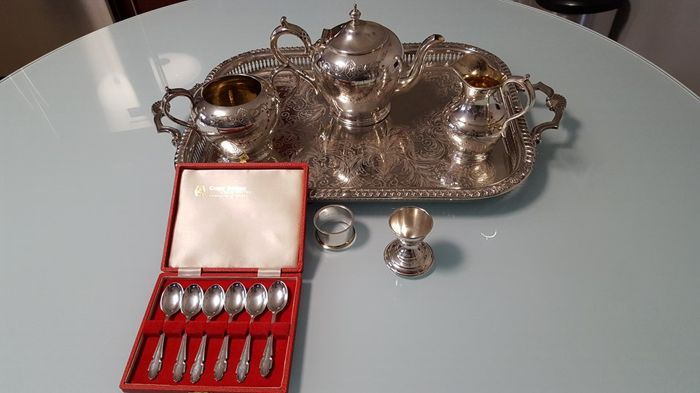 Antique Victorian 4-piece tea set, silver 925/1000, by James Deakin & Sons, Sheffield + set of six silver tea or coffee spoons, Sheffield, 1973 + Vintage Silver egg cup & napkin ring set, Yeoman silver plating, England circa 1950