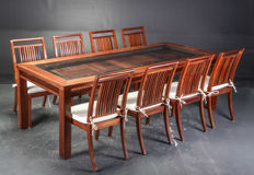 Manufacturer unknown - mahogany dining room table with 8 chairs
