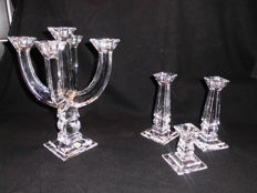 Candlesticks - 5-armed Bleikristall candlestick - 24% lead + set of 3 seperate crystal candlesticks