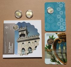 San Marino – Year pack 2015 + 2 Euro 2010/2017 (4 different pieces) in capsule and blisters