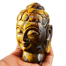 Rare Golden Tiger Eye Carved Buddha Head - 89x52x45 mm - 1707.00 Cts