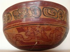 Large Pre-Columbian Maya decorated copador bowl with chiefs - Mexico - 22 cm