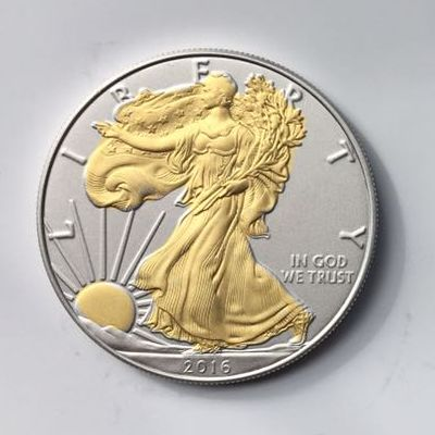 United States - 1 Dollar 2016 'Eagle' Gold Plated - 1 oz silver