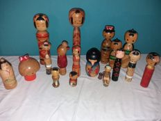 Kokeshi lot - 17 models in total, including exclusive pieces