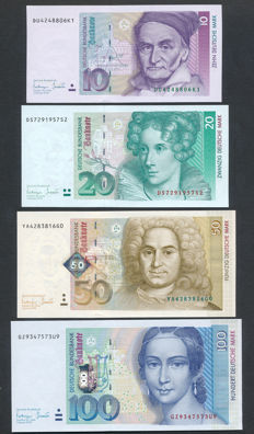 Germany - 10, 20, 50 and 100 Marks 1933-1996 - Pick 38, 39, 45 and 46