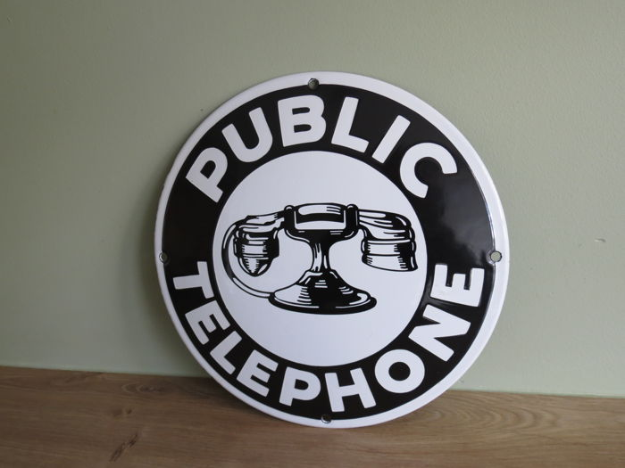 Enamel sign Pubic Telephone