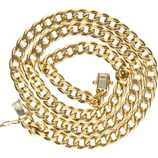14 kt Yellow gold curb link necklace. - length x width: 47 x 0.6 cm