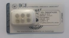 4.15ct 6 Diamonds Round cut G-H   IGL Lab   -NO RESERVE