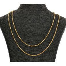 14 kt - Yellow gold popcorn link necklace - Length: 84 cm