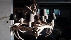 Large chandelier with antlers - late 20th century - deer antlers